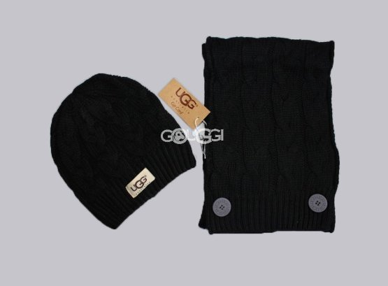 SET UGG HAT AND SCARF BLACK