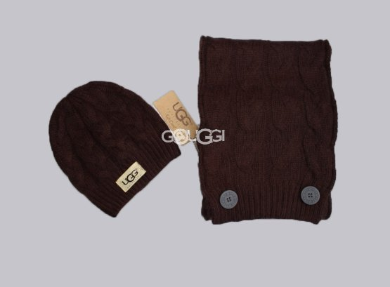 SET UGG HAT AND SCARF Chocolate