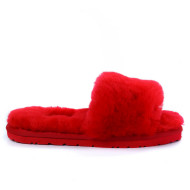 Fluff Slide Slippers Dark Red